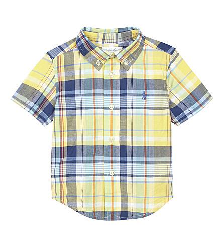 RALPH LAUREN Check print cotton short-sleeved shirt 6-24 months (Yellow/green+mu
