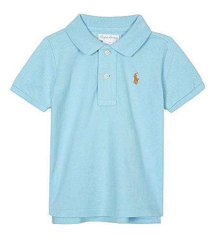 RALPH LAUREN Pony piqué cotton polo shirt 3-24 months (Soft+turquoise