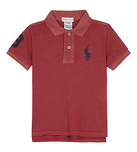 RALPH LAUREN Big Pony cotton polo shirt 3-24 months (Sunrise+red