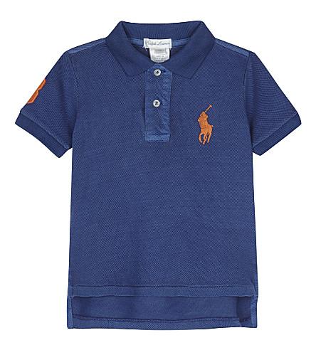 RALPH LAUREN Big Pony cotton polo shirt 3-24 months (Sporting+blue