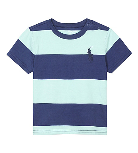 RALPH LAUREN Big Pony striped cotton T-shirt 3-24 months (Bayside+green+m
