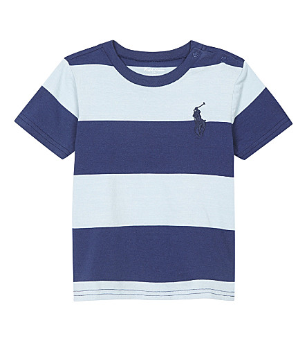 RALPH LAUREN Big Pony striped cotton T-shirt 3-24 months (Naples+blue+mul