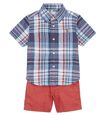 RALPH LAUREN Plaid shirt and shorts set 6-24 months (Blue/red+multi