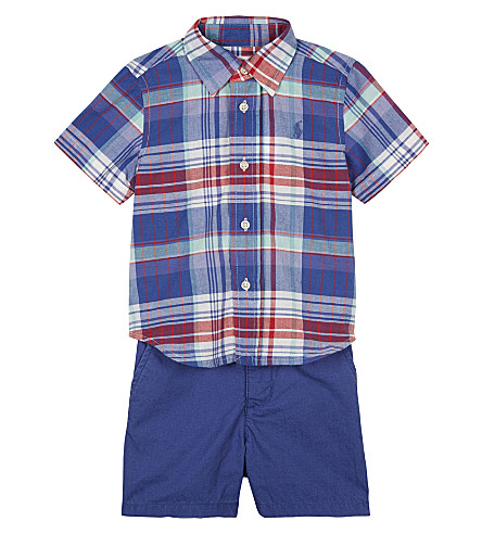 RALPH LAUREN Madras shirt and shorts set 6-24 months (White/green+mul