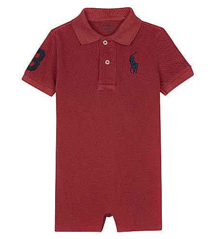 RALPH LAUREN Big Pony cotton polo shortall 3-24 months (Sunrise+red