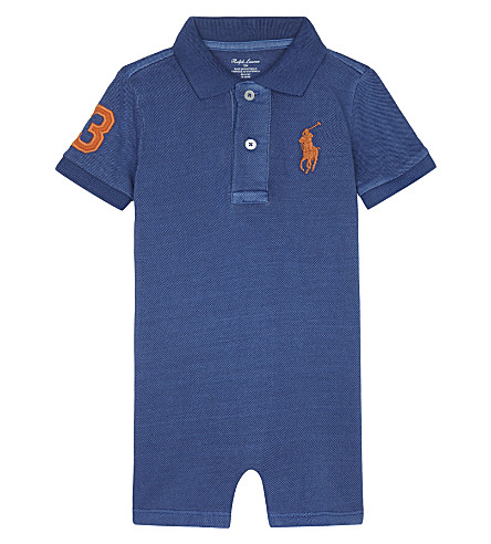RALPH LAUREN Big Pony cotton polo shortall 3-24 months (Sporting+blue