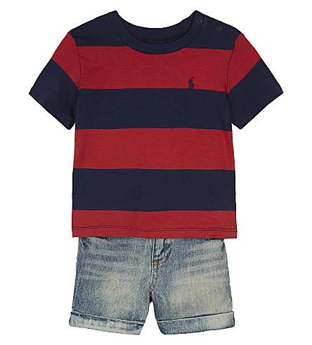 RALPH LAUREN Striped T-shirt & denim shorts set 3-24 months (Sunrise+red+mul