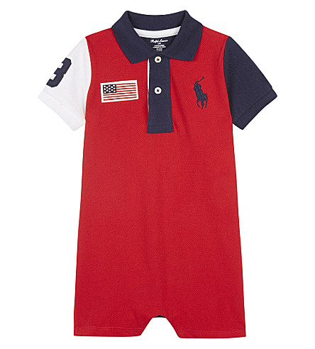 RALPH LAUREN USA cotton shortall 3-24 months (Rl2000+red