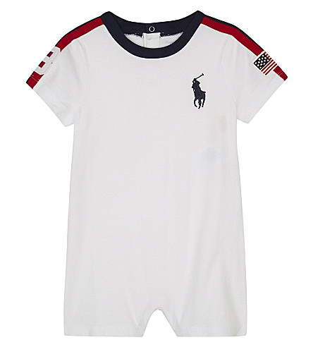 RALPH LAUREN USA cotton shortall 3-24 months (White+multi