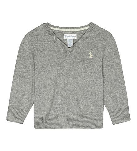 RALPH LAUREN Logo cotton jumper 6-24 months (Andover+heather