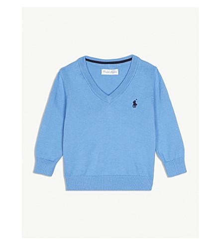 RALPH LAUREN Pima cotton V-neck jumper 3-24 months (Florida+blue