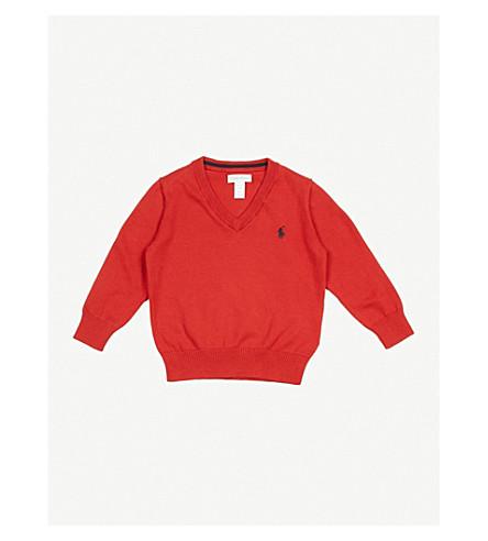 RALPH LAUREN Logo-embroidered cotton jumper 3-24 months (Rl2000+red