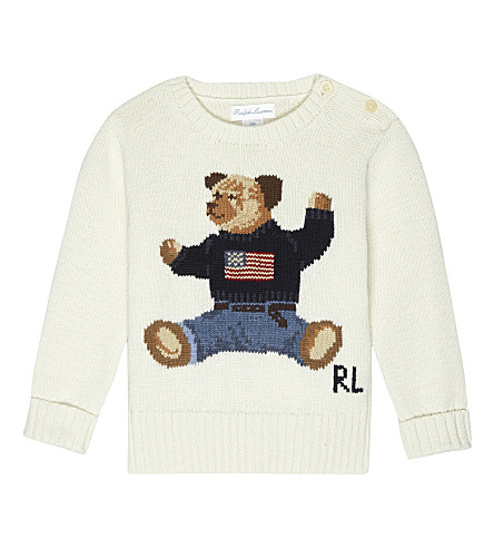 RALPH LAUREN Teddy bear cotton jumper 6-24 months (Warm+white