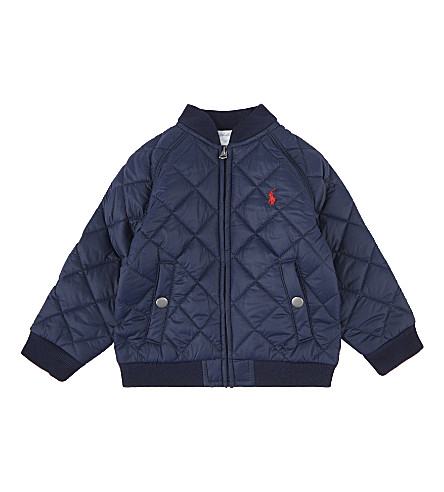 RALPH LAUREN Embroidered logo baseball jacket 6-24 months (French+navy