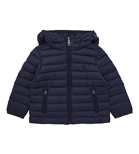 RALPH LAUREN Embroidered logo hooded puffa jacket 6-24 months (French+navy