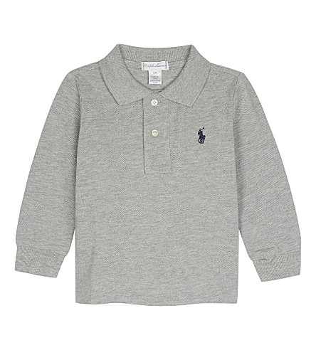 RALPH LAUREN Logo cotton polo shirt 3-24 months (Andover+heather