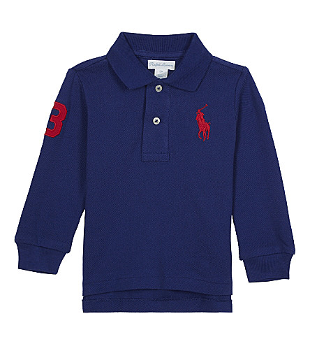 RALPH LAUREN Long-sleeved polo top 3-24 months (Royal+american