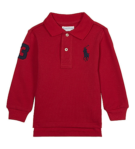 RALPH LAUREN Long-sleeved polo top 3-24 months (Signal+red