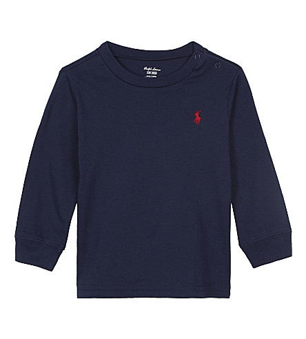 RALPH LAUREN Long-sleeved cotton top 3-24 months (Newport+navy