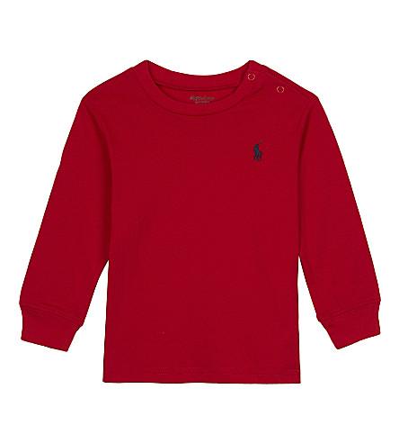 RALPH LAUREN Long-sleeved cotton top 3-24 months (Rl+2000+red
