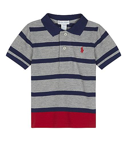 RALPH LAUREN Striped cotton polo shirt 6-24 months (Andover+grey+mu