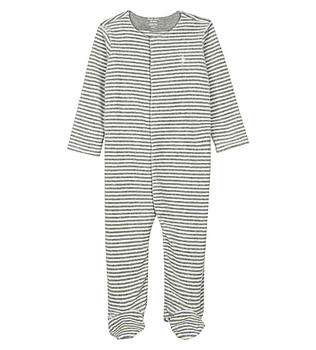 RALPH LAUREN Embroidered logo striped cotton-blend all-in-one (Stonehedge+heat