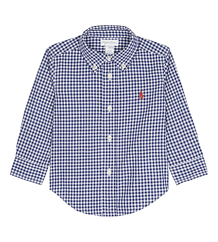 RALPH LAUREN Gingham cotton shirt 9-24 months (Royal+multi