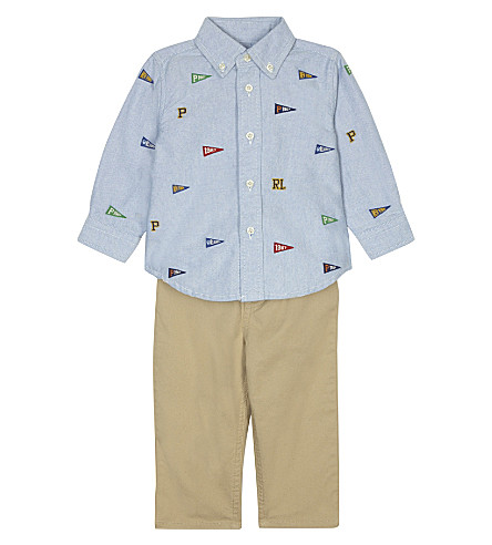 RALPH LAUREN Appliqué shirt and chinos set 6-24 months (Bsr+blue/khaki