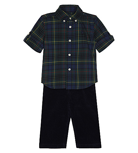 RALPH LAUREN Tartan shirt and corduroy trousers set 9-24 months (Green+multi
