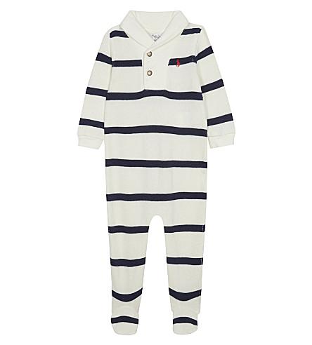 RALPH LAUREN Striped cotton-blend baby-grow 3-9 months (Chic+cream+mult