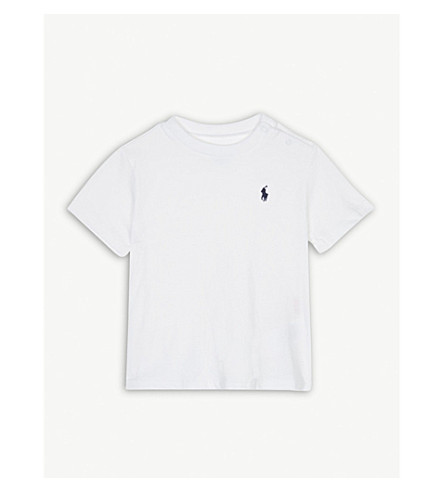 RALPH LAUREN Pony crew-neck cotton T-shirt 3-24 months (White