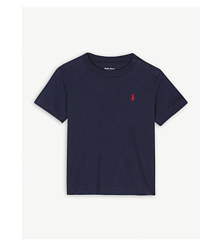 RALPH LAUREN Pony crew-neck cotton T-shirt 3-24 months (Cruise+navy