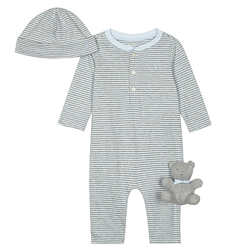 RALPH LAUREN Ralph Lauren Henley baby-grow, cap and teddy bear gift set 3-6 months (Beryl+blue+mult