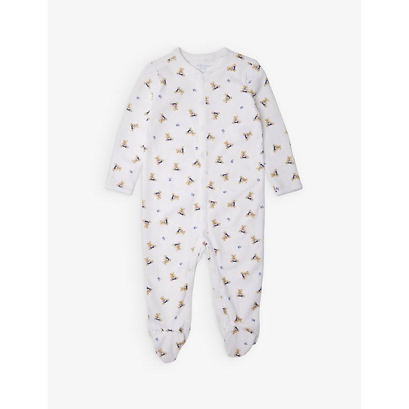 RALPH LAUREN | Bear-Print Cotton Sleepsuit 3-9 Months | Goxip