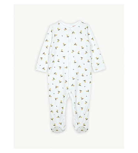 RALPH LAUREN Bear-print cotton sleepsuit 3-9 months (White/blue+multi