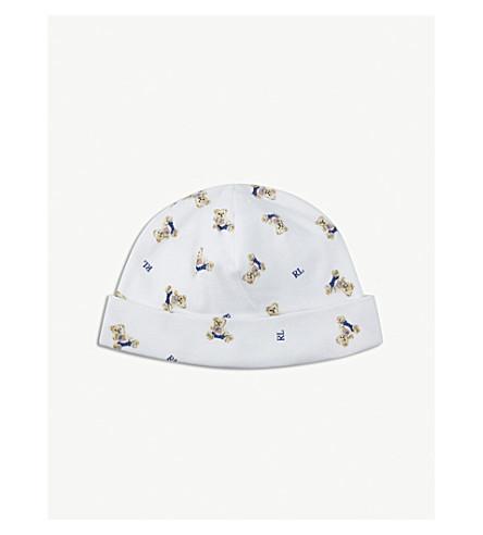 RALPH LAUREN 马球熊棉帽 (白/蓝 + 多