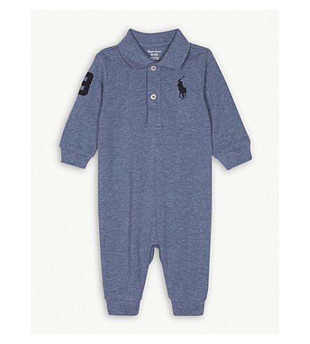 RALPH LAUREN Embroidered brand logo cotton baby grow 3-12 months (Capri+blue+heather