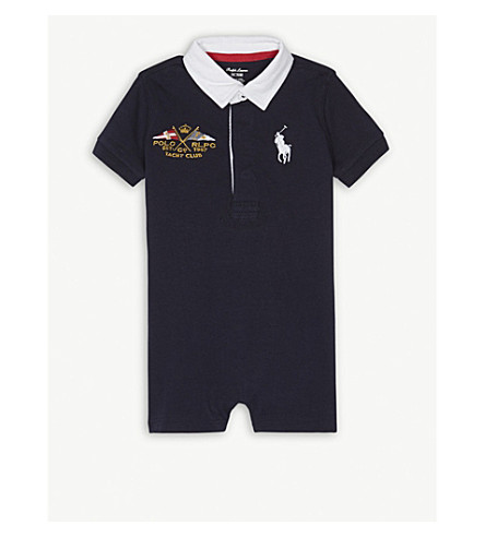 RALPH LAUREN Polo shirt Yacht Club cotton short-all 3-18 months (Hunter+navy