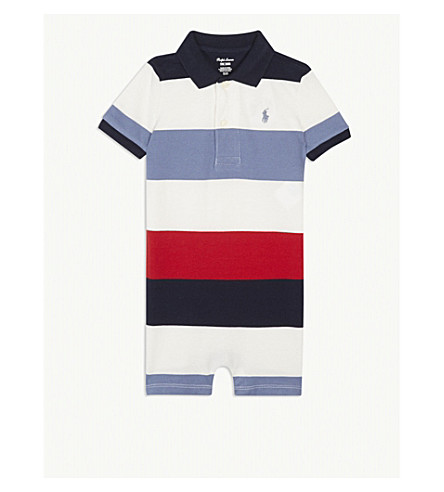 RALPH LAUREN Cotton polo striped playsuit 3-18 months (Hunter+navy+multi