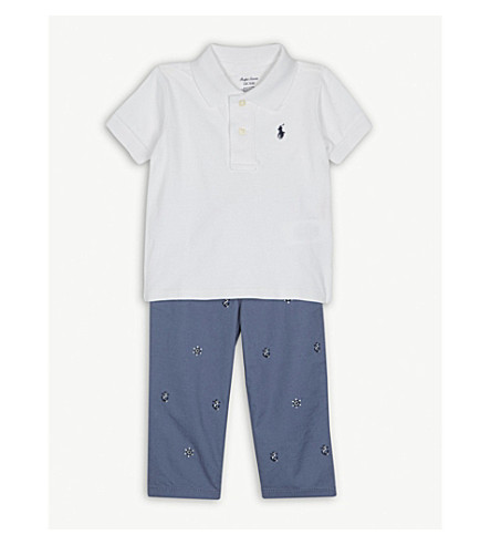 RALPH LAUREN Polo shirt and embroidered chinos set 3-24 months (White