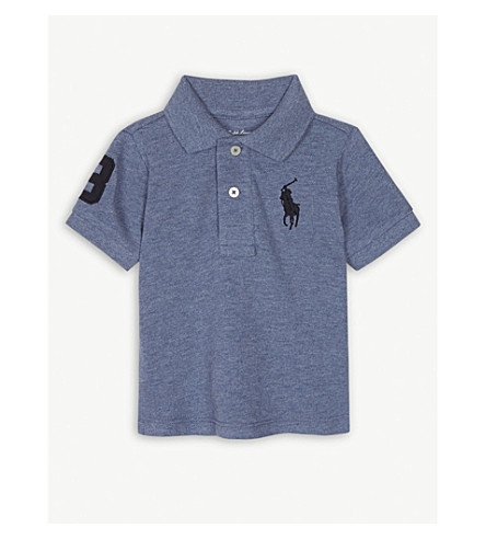RALPH LAUREN 刺绣品牌标志棉质 Polo 衫 3-24 月 (卡普里 + 蓝 + 希瑟