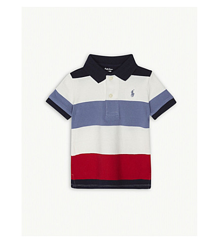RALPH LAUREN Lifesaver stripe cotton polo shirt 3-24 months (Hunter+navy+multi