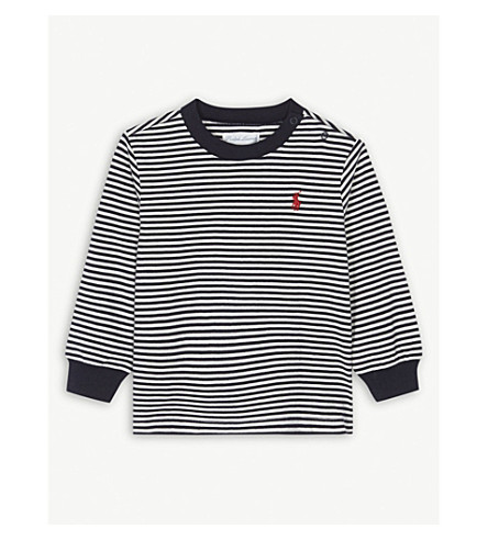 RALPH LAUREN Embroidered brand logo striped long-sleeved top 3-24 months (Warm+white/hunter+navy