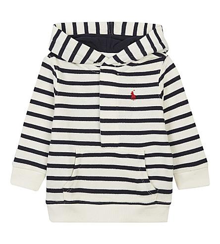 RALPH LAUREN Henley striped hoody 3-24 months (Cream/hunter+navy