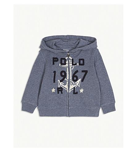 RALPH LAUREN Anchor logo cotton-blend hoody 3-24 months (Capri+blue+heather
