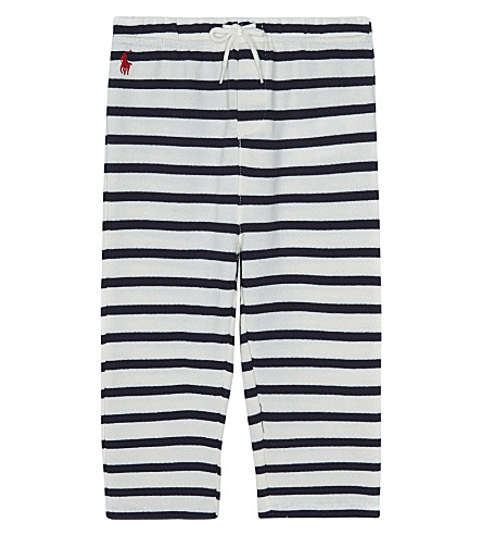 RALPH LAUREN Striped Atlantic terry cotton jogging bottoms 3-24 months (Cream/hunter+navy