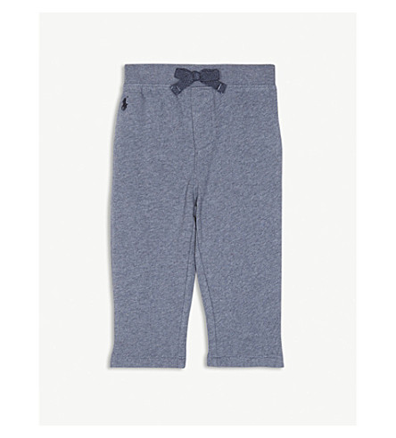 RALPH LAUREN Logo cotton-blend jogging bottoms 3-24 months (Capri+blue+heather