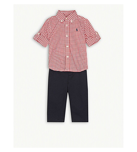 RALPH LAUREN Gingham shirt and chino set 3-24 months (Red/white