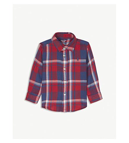 RALPH LAUREN Check flannel cotton shirt 6-24 months (Red/blue+multi