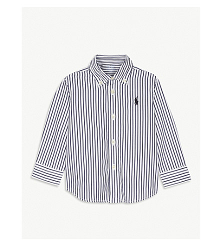 RALPH LAUREN Blake stripe cotton shirt 6-24 months (Navy/white